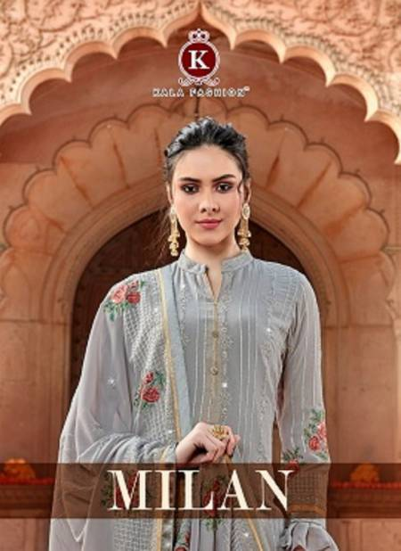 Kala Milan Designer Fancy Wedding Wear Georgette Worked Top With Four Side Less Dupatta Dress Material Collection