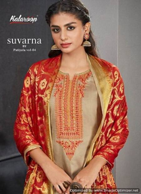 Kalaroop Suvarna By Patiyala 4 Pure Jam Silk Embroidery Work Ready Made Salwar Suits Collection