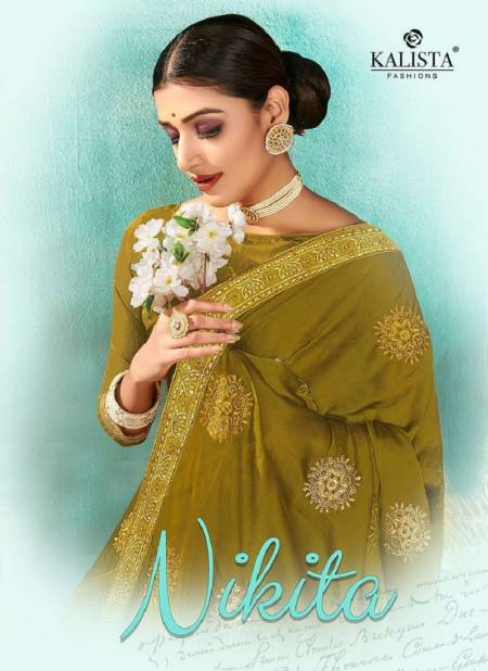Kalista Nikita Latest Fancy Party Wear Designer Chiffon Embroidery Saree Collection