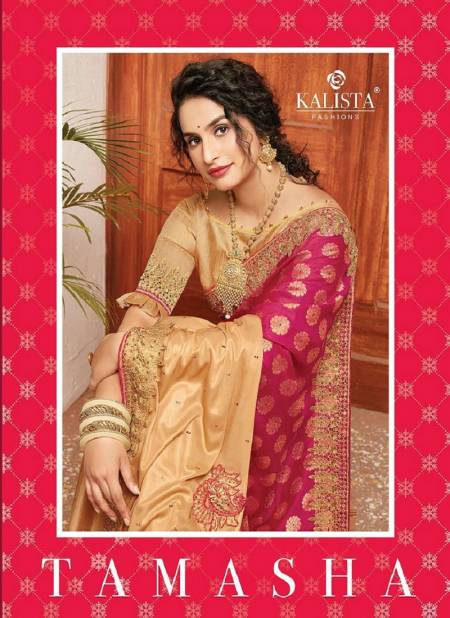 Kalista Tamasha Heavy Designer Festive Wear Embroidery Worked Vichitra Silk Sarees Collection