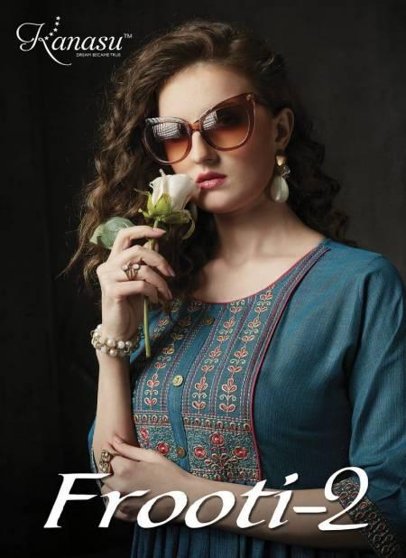 Kanasu Frooti 2 Latest Fancy Designer Ethnic Wear Fancy Rayon Flair Kurtis Collection