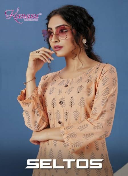 Kanasu Seltos fancy Designer Heavy Latest Ethnic Wear Rayon Slub Flex print Pent Kurtis With Bottom Collection