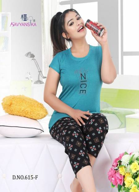 Kavyansika Capri Nightsuit 615 Latest Exclusive Comfortable Hosiery With Super Fine Stitching Cotton Short Printed Nightsuits Collection