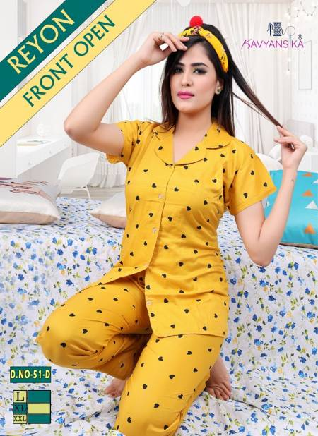 Kavyansika Rayon Night Wear Fully Readymade With Half Sleeves n Buttons Collar Style Comfortable Collection
