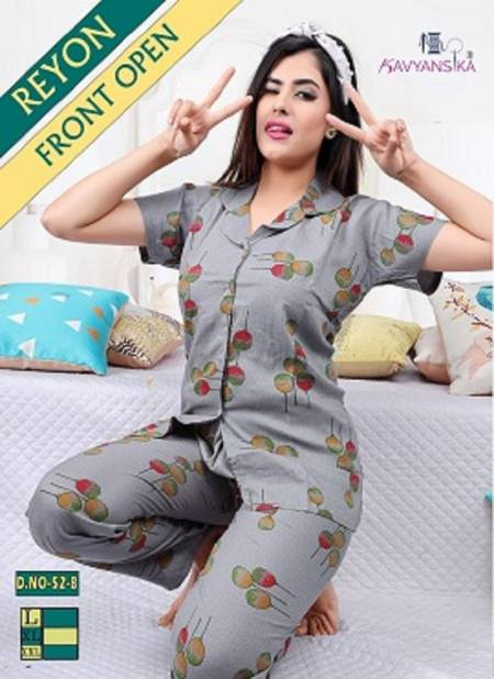 Kavyansika Rayon Rayon Night Wear Fully Readymade With Half Sleeves n Buttons Collar Style Comfortable Premium Western Collection