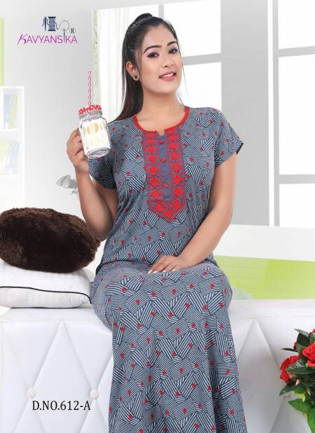 KAVYANSIKA VOL-612 Latest Collection Of Printed Premium Hosiery Nighty With Embroidery Collection