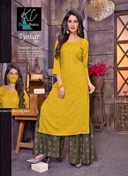 Kc Tyohar 2 Fancy Festive Wear Heavy Rayon Printed Kurti With Bottom Sharara Collection