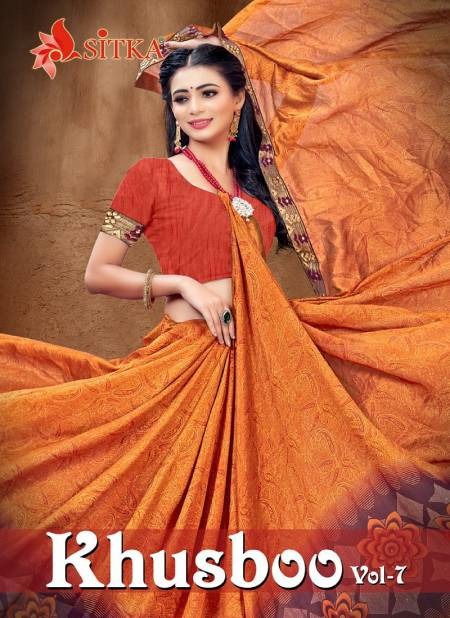 Khusboo 7 fancy Regular Wear vichitra Silk Printed Heavy Latest Designer Sarees Collection