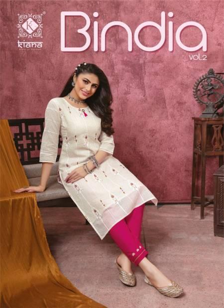 Kiana Bindia 2 Designer Latest fancy Heavy Casual Wear Rayon Cotton Kurti With Bottom Collection