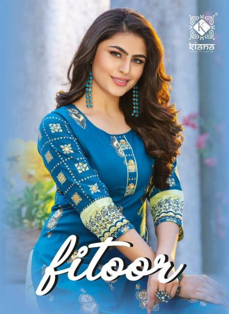 KIANA FITOOR Fancy Designer Festive Wear Rayon With Cotton Printed And Hand Work Kurtis With Bottom Collection