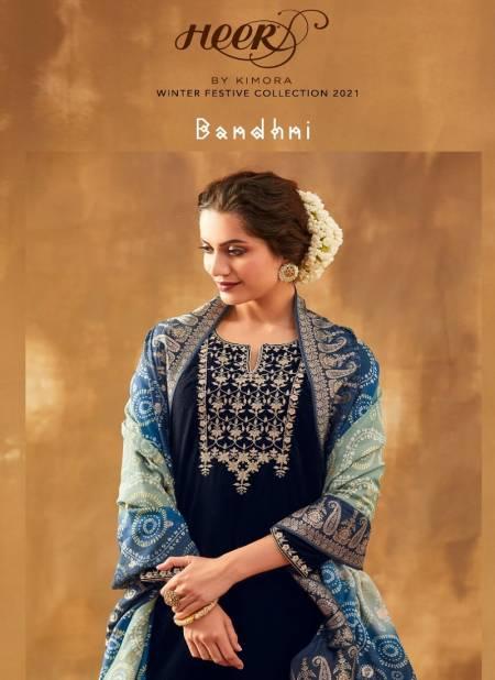 KIMORA BANDHNI Latest Heavy Designer Wedding Wear Pure Spun Silk Jacquard Embroidery with Digital Banadhani Print Salwar Suit Collection