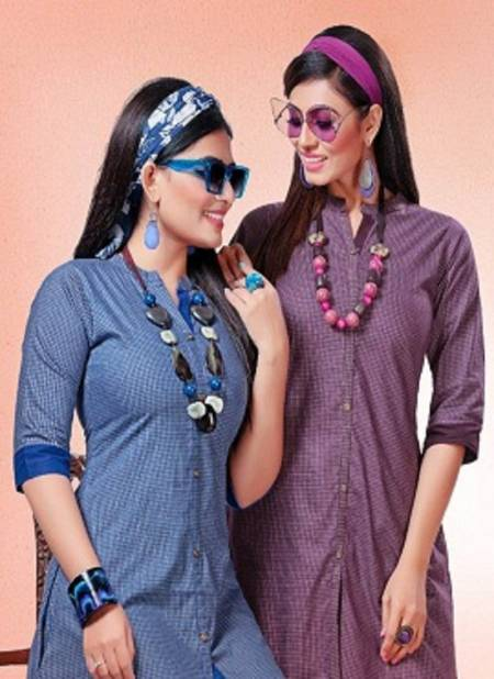 Kinti Blue Berry Latest Designer Handloom Short Kurti With Side Pocket Collection