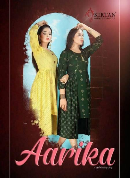 Kirtan Aarika Latest fancy Regular Wear Rayon Printed Designer Kurtis Collection