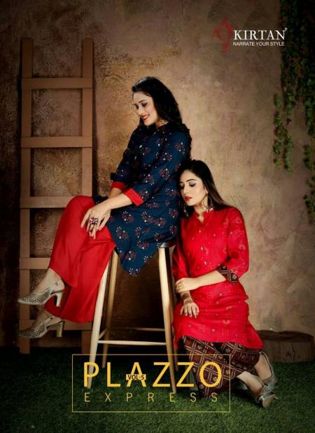Kirtan Plazzo Express Fancy Designer Regular Wear Rayon Printed Kurti With Bottom Collection