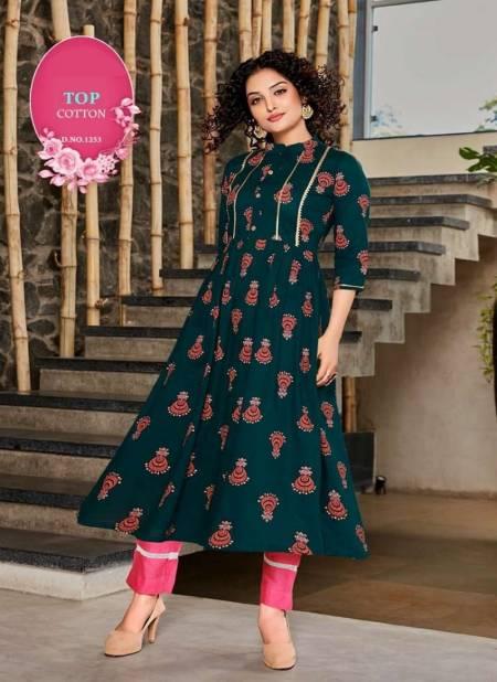 Kudi 1 Latest Fancy Designer Flair Style Ethnic Wear Rayon Long Printed Kurtis Collection