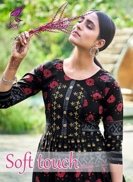 Kunj Soft Touch 1 Latest Fancy Regular Wear Cotton Printed Long Anarkali Kurtis Collection
