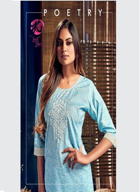 KURTI TIMES  POETRY Latest Fancy Casual Wear Designer Cotton Embroidery Work Kurtis Collection