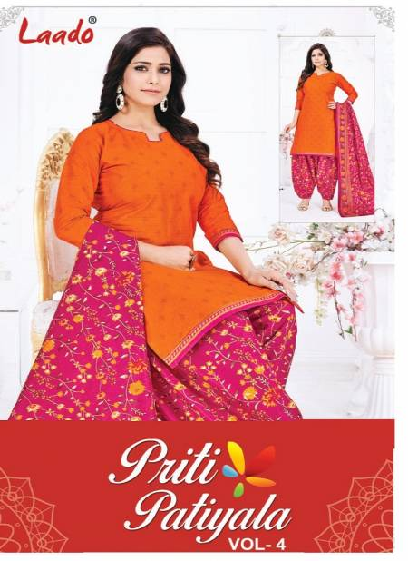 Laado Priti Patiyala Vol 4 Latest Designer Printed Pure Cotton Casual Wear Dress Material Collection