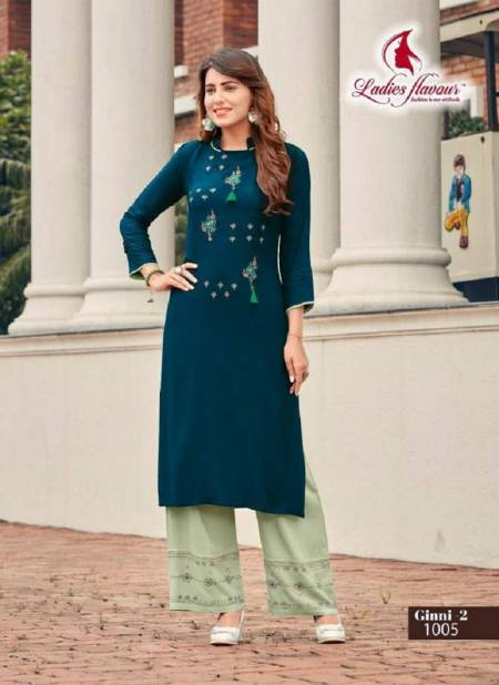 Ladies Flavour Ginni 3 Latest Designer Party Wear Embroidery Worked Rayon Kurti With Plazzo Collection