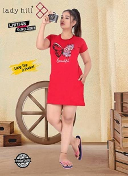 Lady Hill Tshrt 48 :Latest Fancy Regular Casual Wear Hosiery Cotton Long Pocket T-shirt Collection