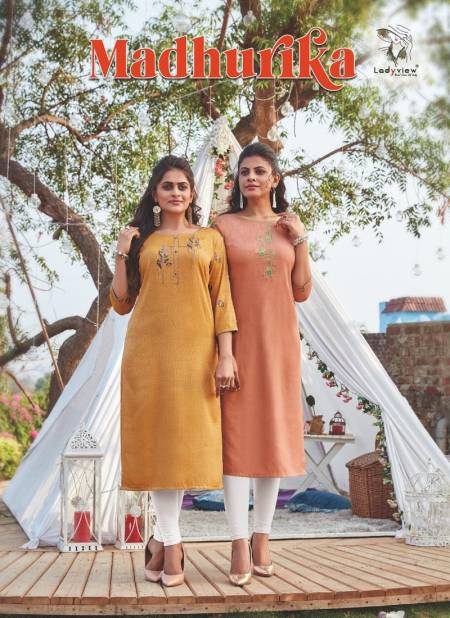 LADYVIEW MADHURIKA Latest Fancy Designer Heavy party wear Lexus Rayon with Value Added Embroidery Work Kurti Collection