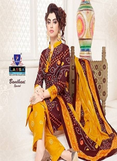 Lassa Bandhani Special 10 Latest fancy Designer Regular Casual Wear Pure Cotton Printed Dress Material