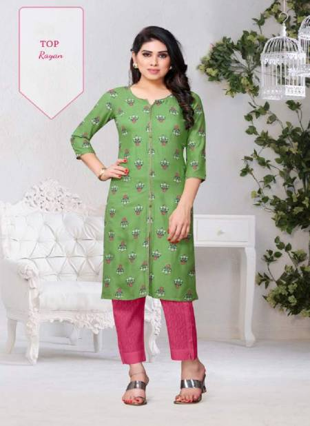 Latest Decent 2 Casual Wear Rayon Printed Kurti Collection