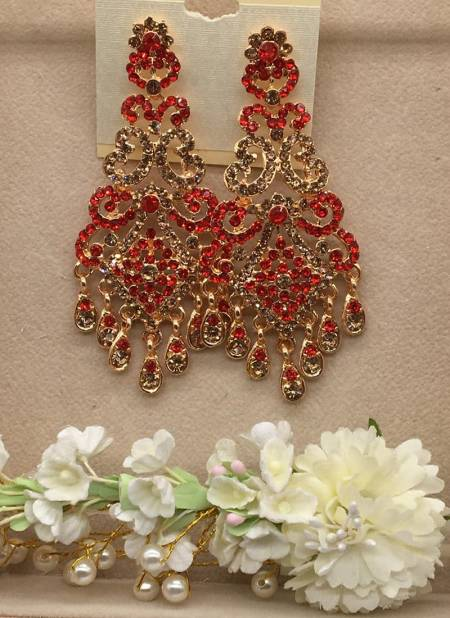 Latest Designer Stylish Part Wear And Bridal Wedding Gold Plated With Diamond Earring Collection