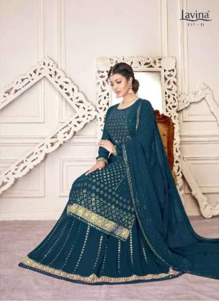 Lavina Vol 117 Latest Heavy Embroidery Sequence Work Georgette  Designer Salwar Suits With Diamond Work Embroidery Lace Patti Dupatta