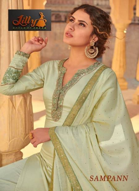 LILLY SAMPANN Latest Designer fancy Festive Wear Tusar Muslin With Thread Cording And Enhance With Stone Work Salwar Suit Collection