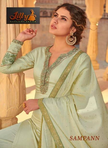 LILLY SAMPANN Latest fancy Festive Wear Muslin With Thread Badla Cording And Enhance With Stone Work