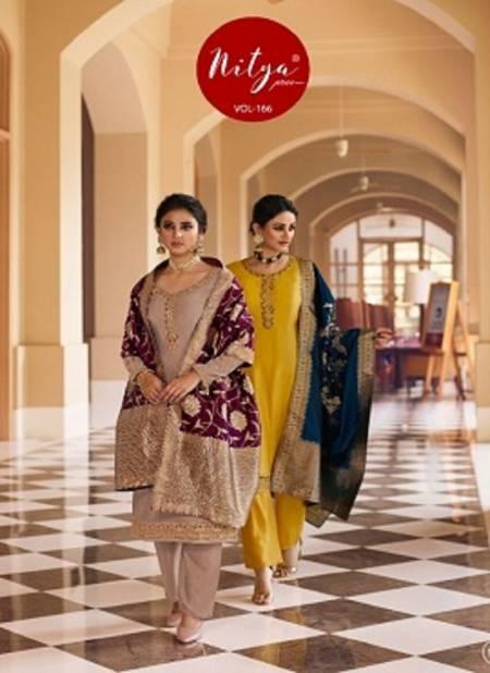 Lt Nitya 166 Latest Fancy Festive Wear Satin Georgette Heavy  Designer Dress Material Collection
