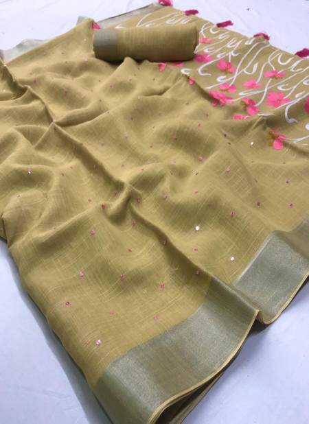 Lt Vani Latest Pure Linen embroidery Work Casual Wear Saree Collection