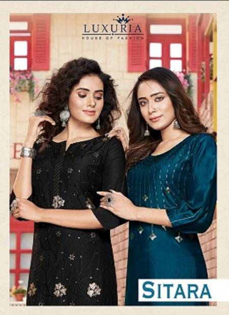 Luxuria Sitara Latest fancy casual wear Embroidery Work chinon Kurtis With Bottom Collection