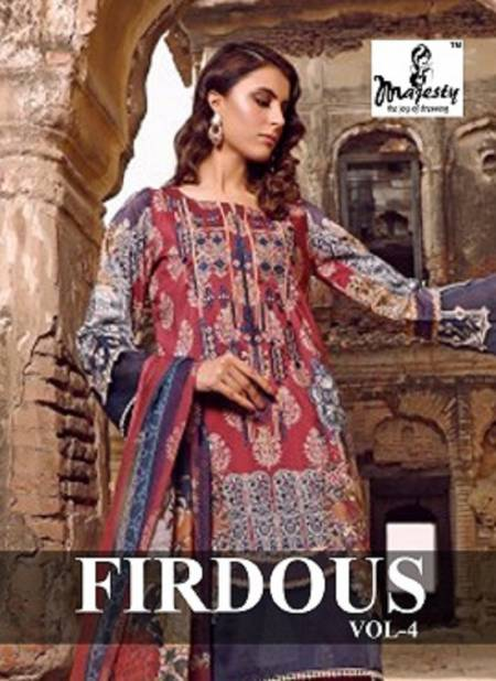 Majesty Firdous Vol 4 Latest Jam Silk Cotton Digital Printed With Patch Embroidery Pakistani Salwar Suit Collection
