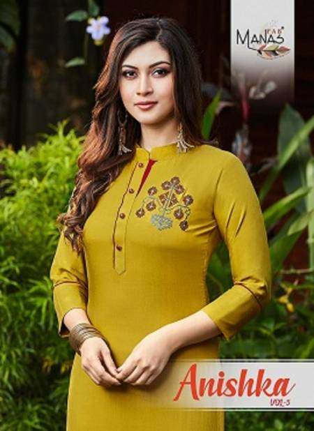 Manas Anishka 5 Latest fancy Designer Ethnic Wear Rayon Kurti With Bottom Collection