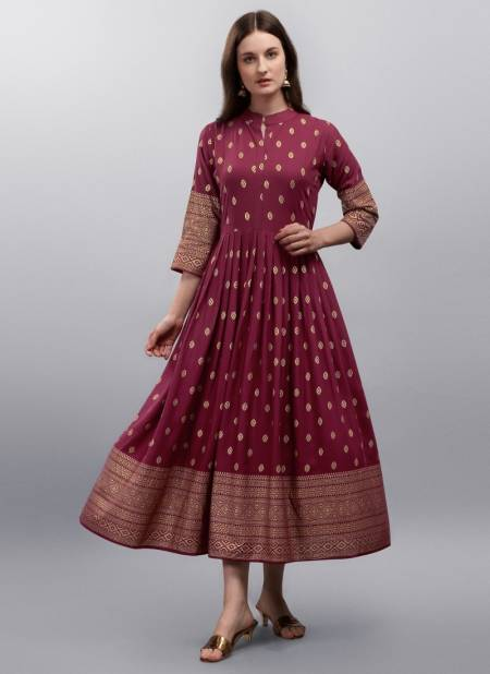 Manvi 1 Designer Latest Fancy Ethnic Wear Flair Rayon Printed Kurti Collection