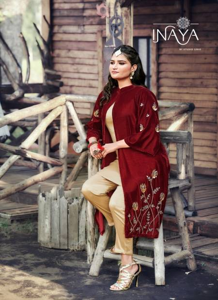 Inaya Latest Designer Party Wear Velvet Western Style Kurti With Pant Style Bottom Suit Collection