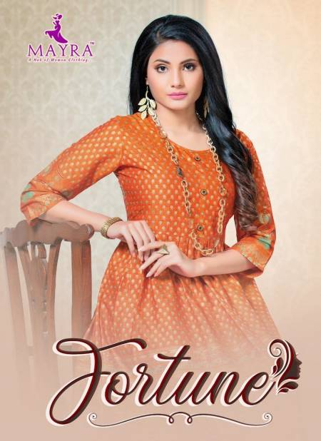 Mayra Fortune Latest Designer Fancy Flair Style Casual Wear Rayon printed Kurtis Collection