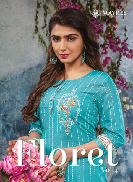 Mayree Floret 4 latest Fancy Designer Rayon Ethnic Wear Printed And Embroidery Worked Kurti With Bottom Collection