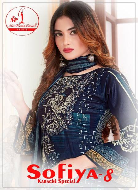 Miss World Choice Sofiya 8 Karachi Special Latest Casual Wear Pure Cotton Printed Dress Material Collection