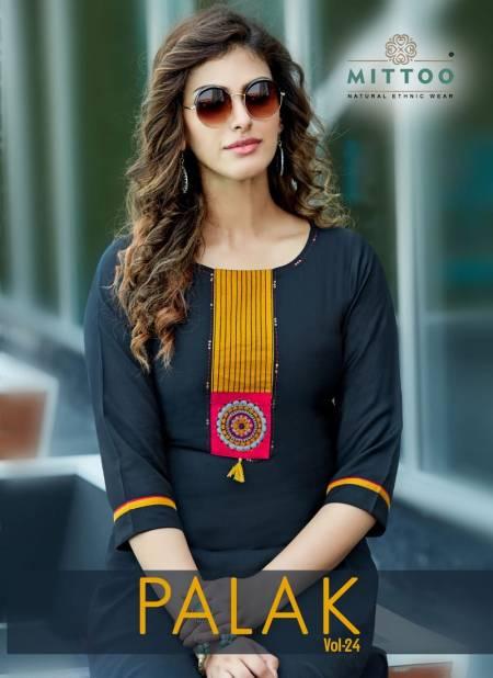 MITTOO PALAK VOL-24 Latest fancy Festive Wear Heavy Rayon Designer Kurtis Collection
