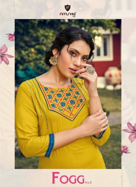 Nitisha Fogg 2 Latest Fancy Casual Regular Wear Cotton Embroidery Kurtis Collection