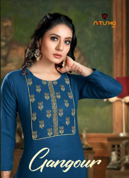 Nitisha Gangour latest fancy Designer regular wear Cotton Embroidery Kurti With Bottom Collection