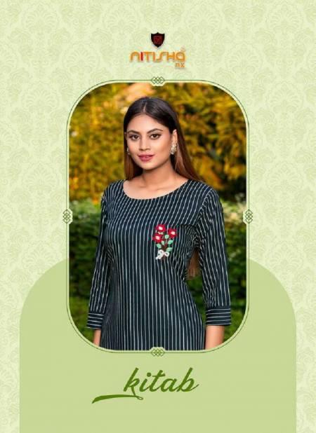 Nitisha Nx Kitab latest Heavy fancy Rayon Regular Wear Designer Kurtis Collection