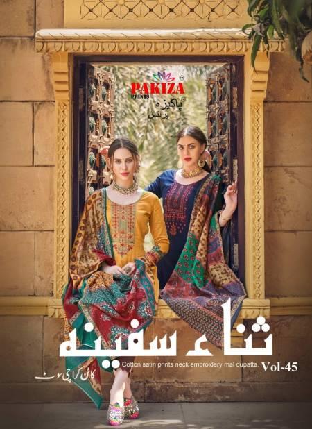 Pakiza Sana Safinaz 45 Latest Fancy Designer Heavy Casual Wear Embroidery Kashmiri Heavy Neck Work Dress Material Collection