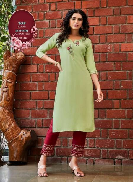 Pant 6 Desinger fancy latest Casual Wear Rayon Kurti With Bottom Collection