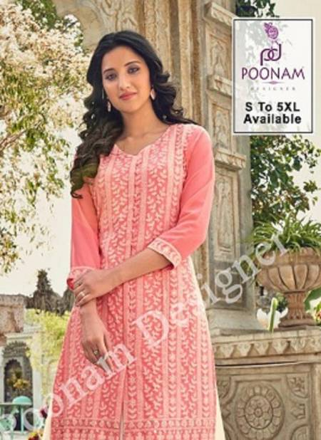 Poonam Lucknowi 101 To 106 Latest fancy Designer Festive Wear Georgette Designer Kurtis Collection