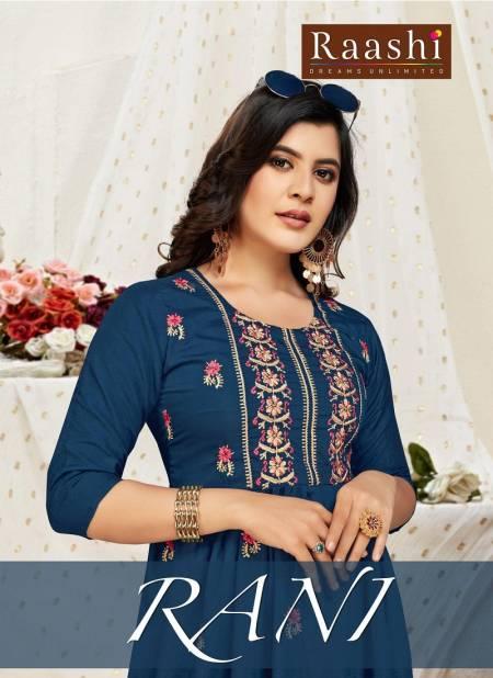 Raashi Rani Latest fancy Designer Casual Wear Printed Chinon Silk Anarkali Kurtis Collection