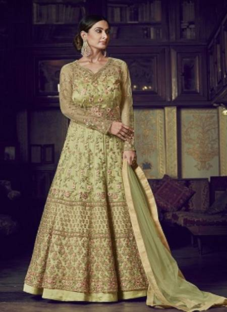 Raazi Latest Designer Fancy Wedding Wear Embroidery Net With Embroidery And Stone Work Sleeves And Four Side Less Dupatta Ladies Gown Collection